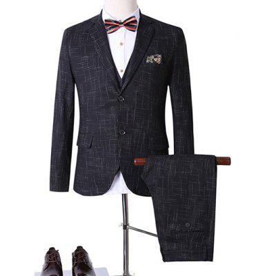 Plus Size Lapel Single Breasted Geometric Print Long Sleeve Three-Piece Suit ( Blazer + Waistcoat + Pants )