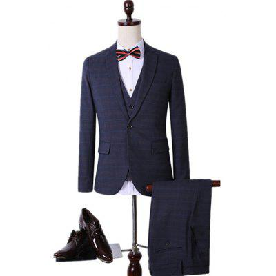 Plus Size Lapel Single Breasted Plaid Long Sleeve Three-Piece Suit ( Blazer + Waistcoat + Pants )
