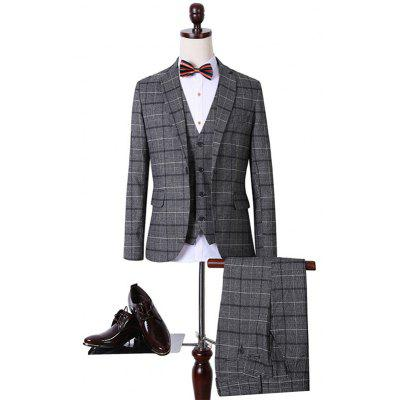 Plus Size Lapel Single Breasted Tartan Long Sleeve Three-Piece Suit ( Blazer + Waistcoat + Pants )