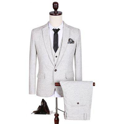 Plus Size Lapel Single Breasted Slimming Long Sleeve Three-Piece Suit ( Blazer + Waistcoat + Pants )