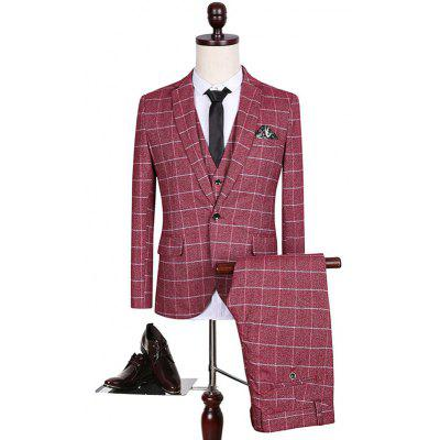 Buy WINE RED Plus Size Lapel Single Breasted Checked Pattern Long Sleeve Three-Piece Suit  (Blazer + Waistcoat + Pants ) for $121.33 in GearBest store