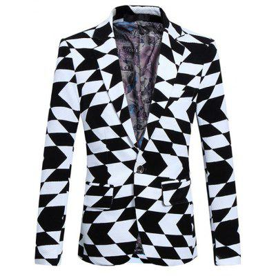 Plus Size Lapel Irregular Geometric Print Long Sleeve Blazer