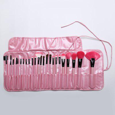 Stylish 24 Pcs Soft Pony Hair Makeup Brushes Set with PU Leather Brush Bag