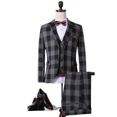Buy COLORMIX Plus Size Lapel Single Breasted Checked Long Sleeve Three-Piece Suit  (Blazer + Waistcoat + Pants ) for $103.63 in GearBest store