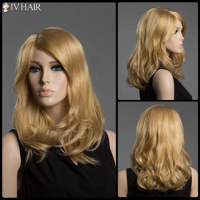 Buy GOLDEN Shaggy Wave Human Hair Capless Medium Side Parting Siv Hair Wig for $104.72 in GearBest store