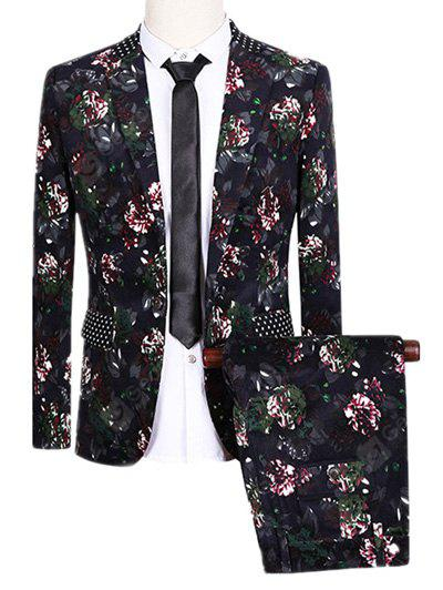 COLORMIX Lapel One Button Design Flowers and Polka Dot Pattern Long Sleeve Suit (Blazer + Pants)