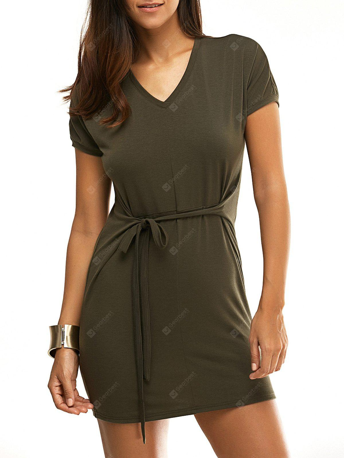 V-Neck Short Sleeve T Shirt Dress