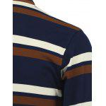 Striped Long Sleeve Polo Shirt - BROWN