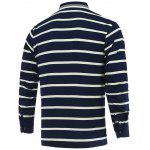 cheap Striped Turn-Down Collar Long Sleeve Polo T-Shirt