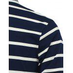 Striped Turn-Down Collar Long Sleeve Polo T-Shirt for sale