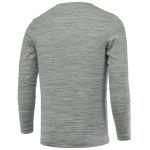 Buy Buttons Embellished V-Neck Long Sleeve T-Shirt M LIGHT GRAY