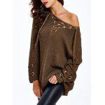 Lace Up Criss-Cross Long Sweater - CHOCOLATE