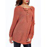Lace Up Criss-Cross Long Sweater - RED BROWN