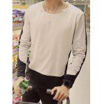 Plus Size Round Neck Color Block Spliced Design Long Sleeve T-Shirt