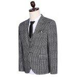 cheap Plus Size Lapel Single Breasted Small Grid Long Sleeve Three-Piece Suit ( Blazer + Waistcoat + Pants )