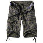 Camouflage Straight Leg Multi-Pocket Zipper Fly Cargo Shorts For Men - CAMUFLAGE,