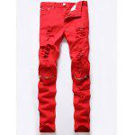 Ripped Red Jeans - RED
