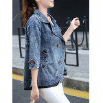 best 3/4 Sleeve Double-Breasted Broken Hole Denim Jacket