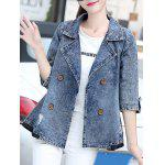 cheap 3/4 Sleeve Double-Breasted Broken Hole Denim Jacket