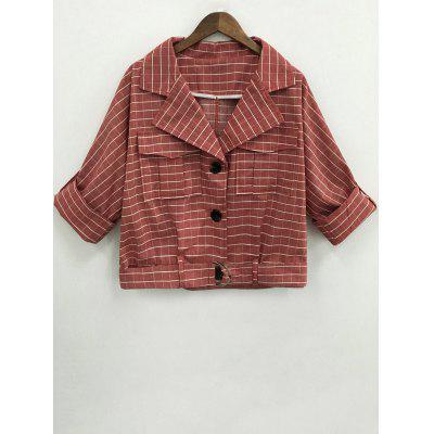 Loose Plaid Turn-Down Collar Jacket