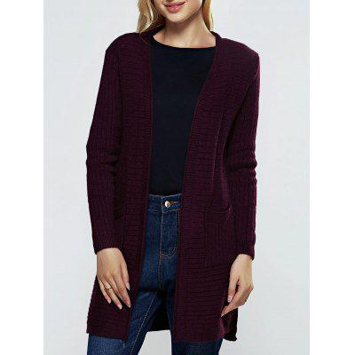 Simple Women's Double Pockets Pure Color Collarless Cardigan
