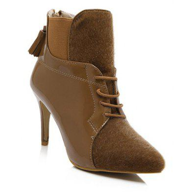 Elastic Band Splicing Tassels Ankle Boots