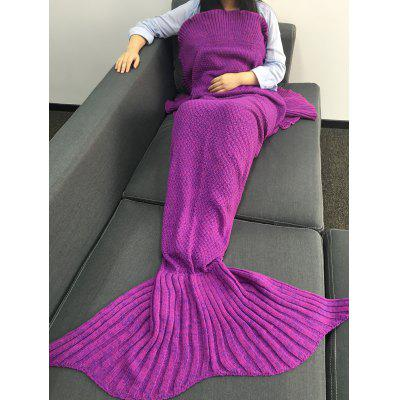 Buy Warmth Falbala Design Knitted Mermaid Tail Shape Blanket PURPLE for $21.65 in GearBest store