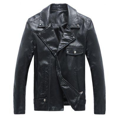 Side Zip Up Turn-down Collar Rivet Embellished Faux Leather Jacket