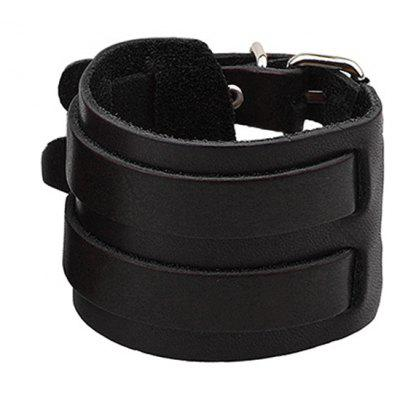Pin Buckle Faux Leather Wide Bracelet