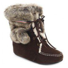 Hairball Lace Up Faux Fur Ankle Suede Snow Boots
