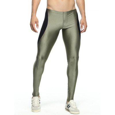 Buy ARMY GREEN Skinny Color Spliced Elastic Waist Gym Pants for $13.14 in GearBest store