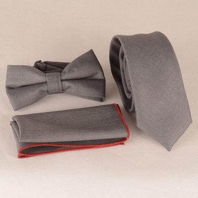 Casual Monotonous Tie Pocket Square Bow Tie