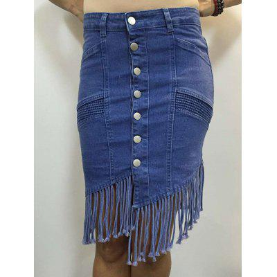 High Waist Buttoned Fringed Skirt