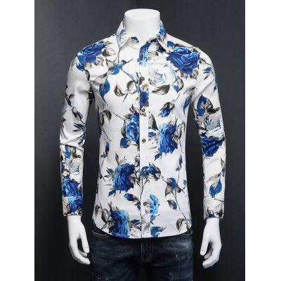 3D Rose Print Plus Size Turn-Down Collar Long Sleeve Shirt