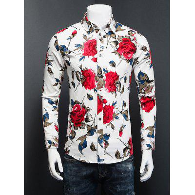 Rose 3D Impresso Plus Size Turn-Down Collar Long Sleeve Shirt