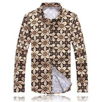 Palace Floral Printed Plus Size Turn-Down Collar Long Sleeve Shirt