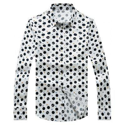 Polka Dot Printed Plus Size Turn-Down Collar Long Sleeve Shirt