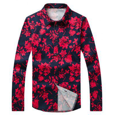 Flor Impresso Plus Size Turn-Down Collar Long Sleeve Shirt