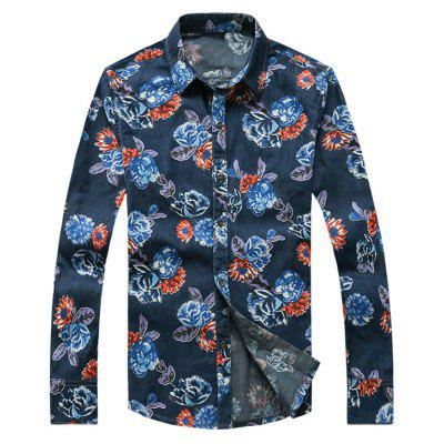 3D Flower Printed Plus Size Turn-Down Collar Long Sleeve Denim Shirt