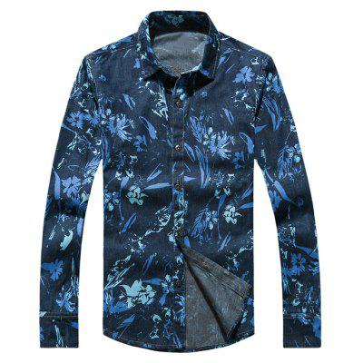 Flower Print Plus Size Turn-Down Collar Long Sleeve Denim Shirt
