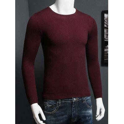 Plus Size Round Neck Long Sleeve Knitted Sweater