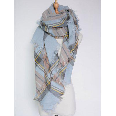 Padrão Plaid Casual Franjas Big Square Scarf