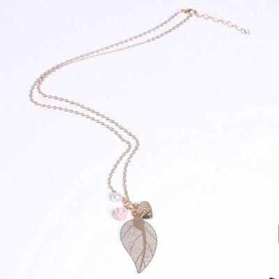 Buy COLORMIX Delicate Pearl Leaf Flower Heart Pendant Sweater Chain Necklace For Women for $3.91 in GearBest store