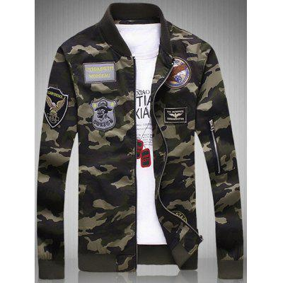 Plus Size Rib Spliced Stand Collar Long Sleeve Appliques Camouflage Jacket