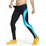 Color Splicing Skinny Elastic Waist Gym Pants - BLUE