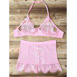 Buy Halter Lace Beading Mesh Eyelash Bra Set 2XL PINK