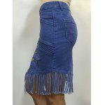 High Waist Buttoned Fringed Skirt deal