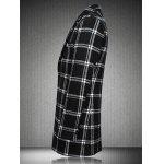 Buy Checked Plus Size Turn-Down Collar Long Sleeve Single-Breasted Coat 3XL WHITE AND BLACK