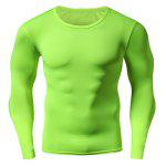 Quick Dry Round Neck Plain Fitness T Shirt - GREEN