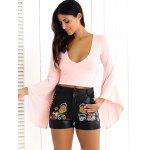 Floral Embroidered PU Leather Shorts - BLACK